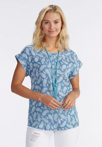 Paisley Chambray Popover Top-Plus