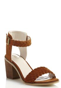 Braided Band Block Heeled Sandals