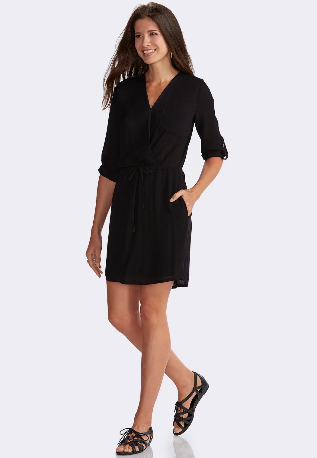 Surplice Drawstring Shirt Dress-Plus Plus Sizes Cato Fashions