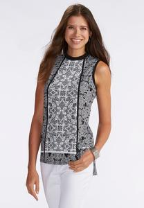 Paisley Mock Neck High-Low Tank