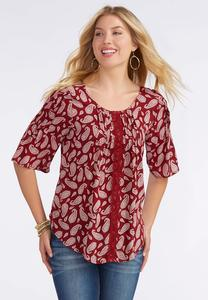 Havana Paisley Pintucked Poet Top