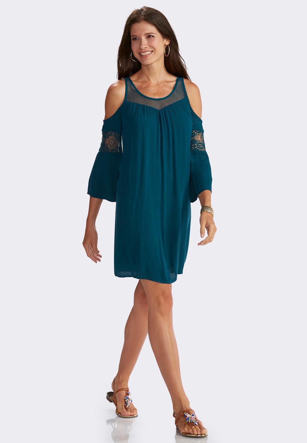 Lace Inset Cold Shoulder Swing Dress A Line Amp Swing Cato