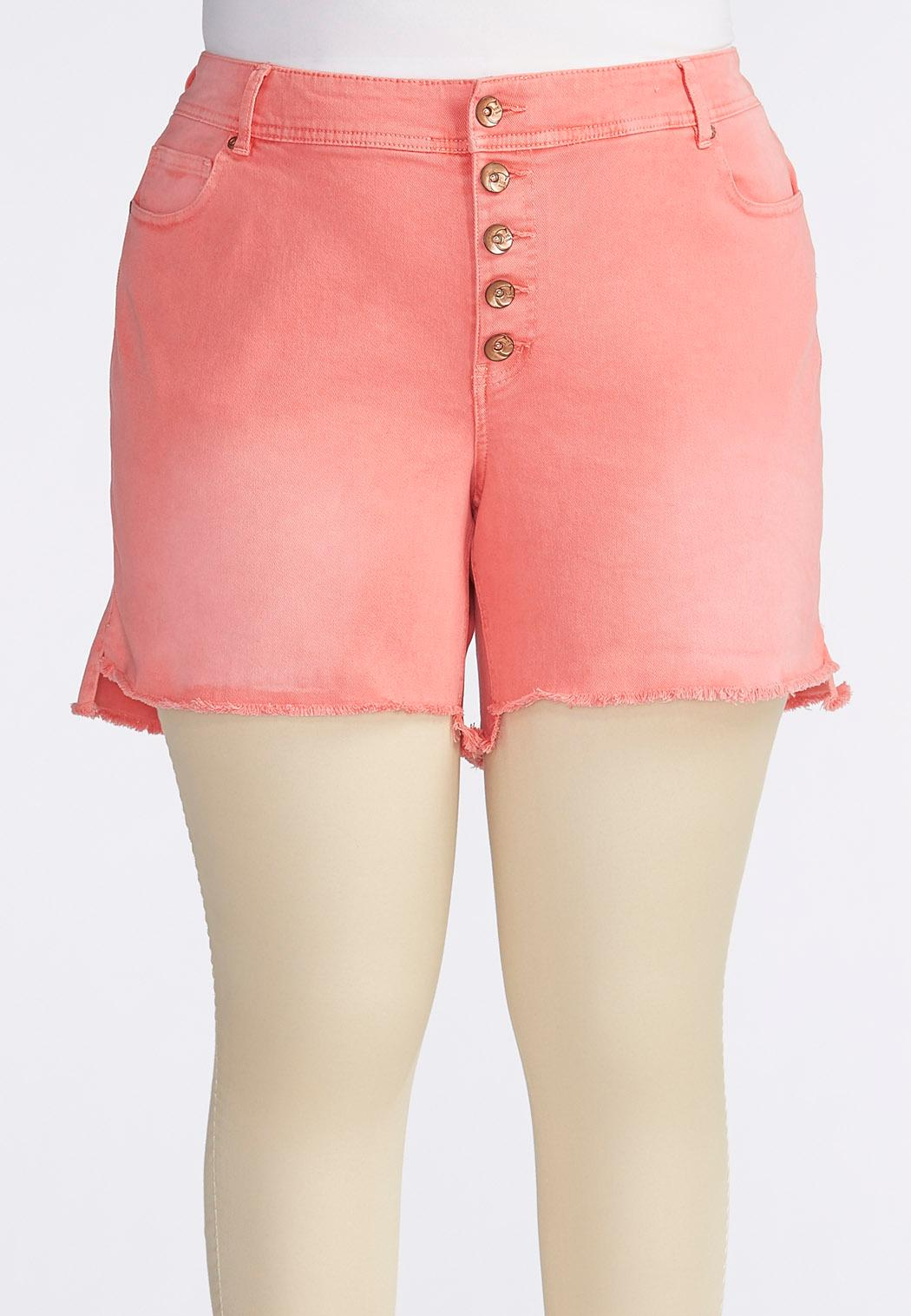 Frayed Five Button Color Jean Shorts-Plus Shorts & Crops Cato Fashions