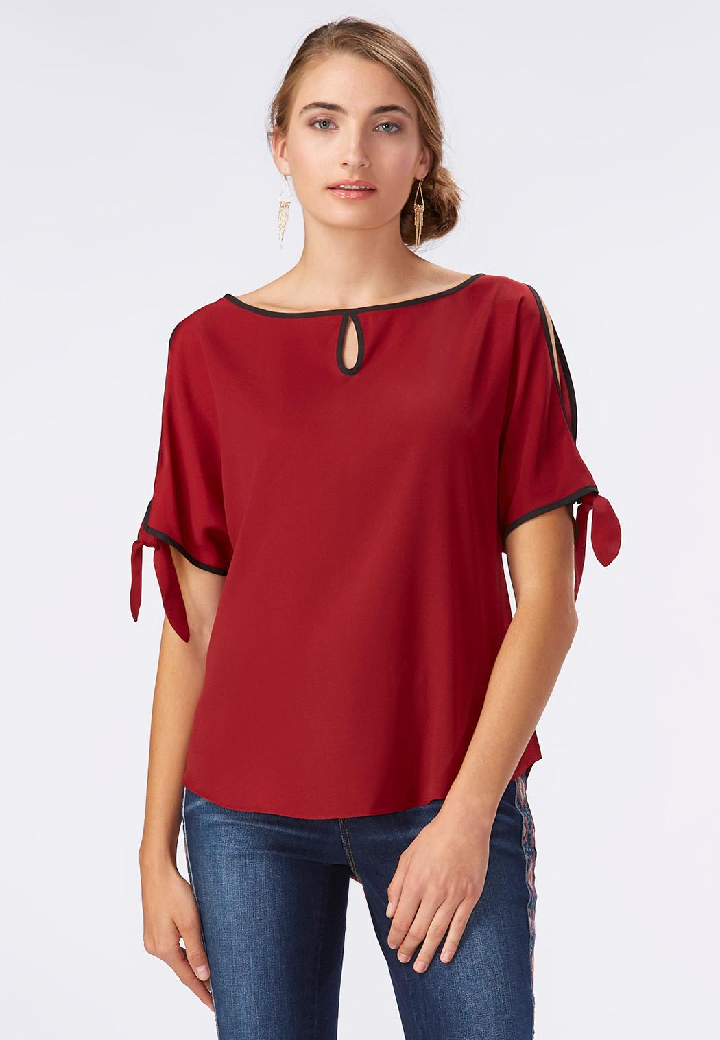 tie sleeve cold shoulder top shirts blouses cato fashions. Black Bedroom Furniture Sets. Home Design Ideas