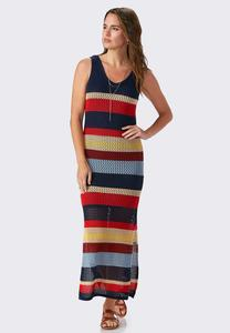 Crochet Striped Maxi Dress