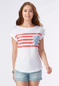 American Flag Graphic Tee- Plus