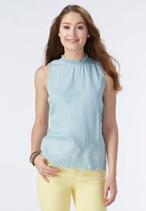 Embroidered Chambray Tank-Plus