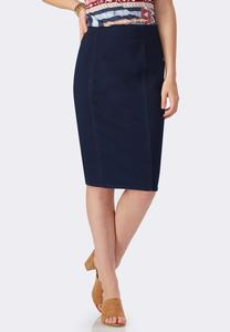 Pull-On Denim Pencil Skirt-Plus