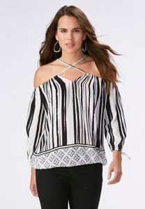 Geo Bordered Painter Striped Cold Shoulder Top