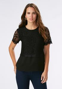 Lace Overlay Woven Top-Plus