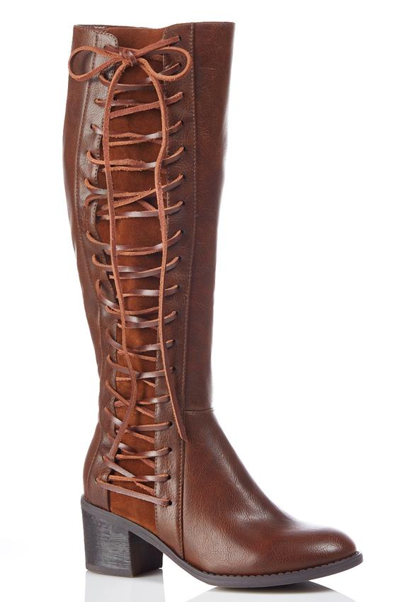 Wide Width Lace Up Side Tall Boots Tall Cato Fashions