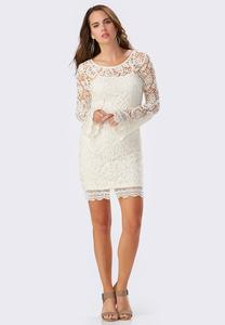 Bell Sleeve Lace Sheath Dress-Plus