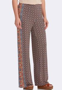 Bordered Tile Palazzo Pants-Petite