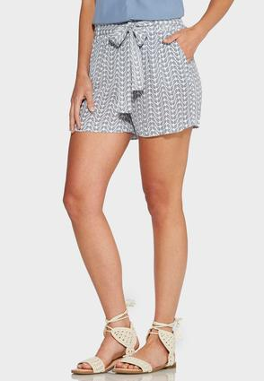 Belted Paisley Print Soft Shorts
