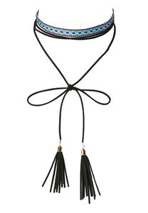 Embroidered Tassel Choker Necklace
