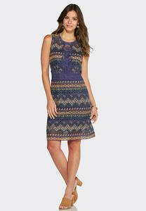 Embroidered Lace Sheath Dress-Plus