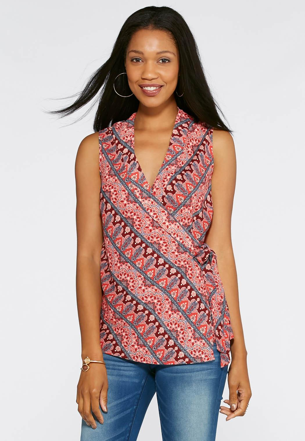 Diagonal Print Wrap Blouse-Plus