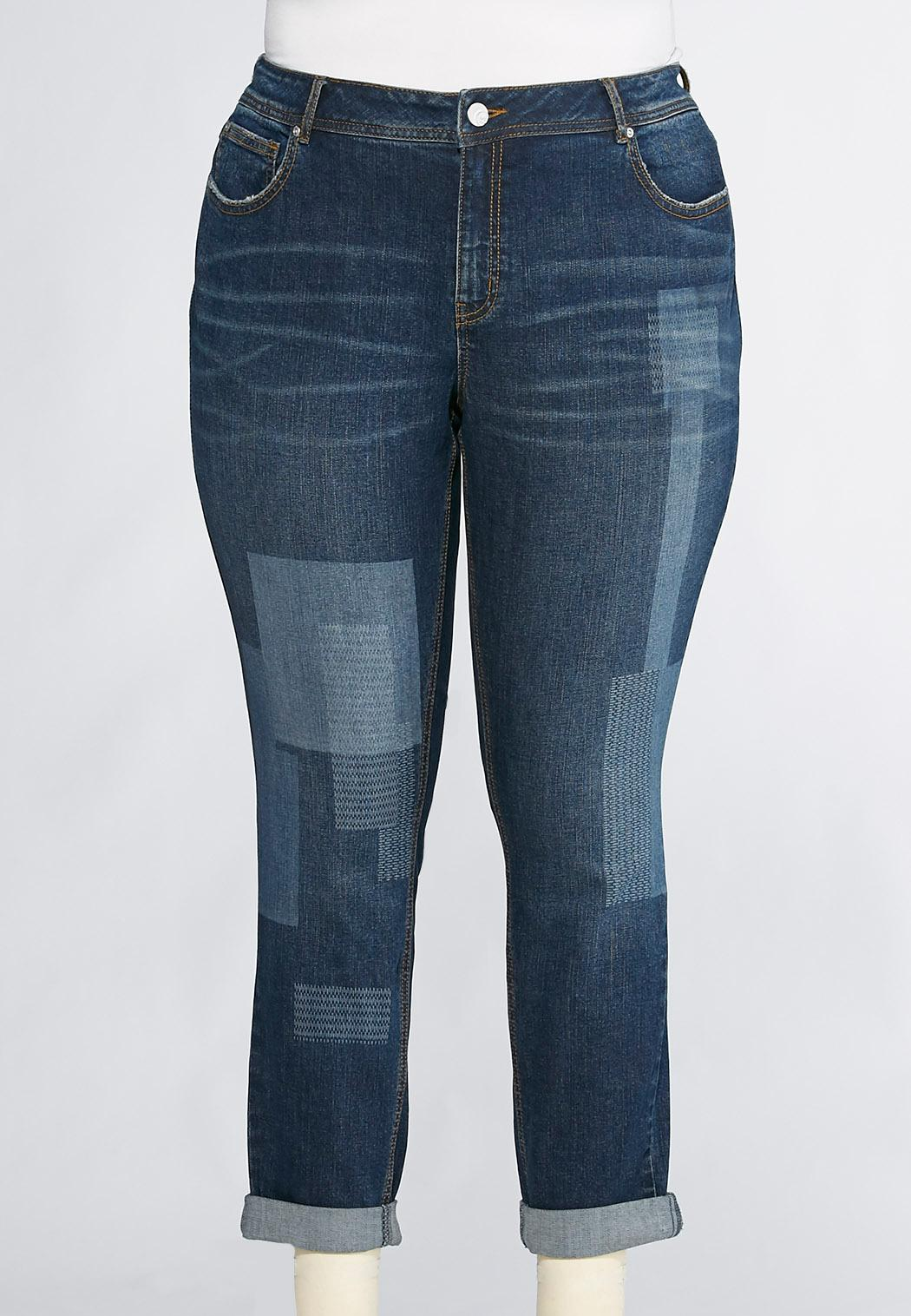 Skinny Laser Patch Ankle Jeans Plus Ankle Pants Cato Fashions