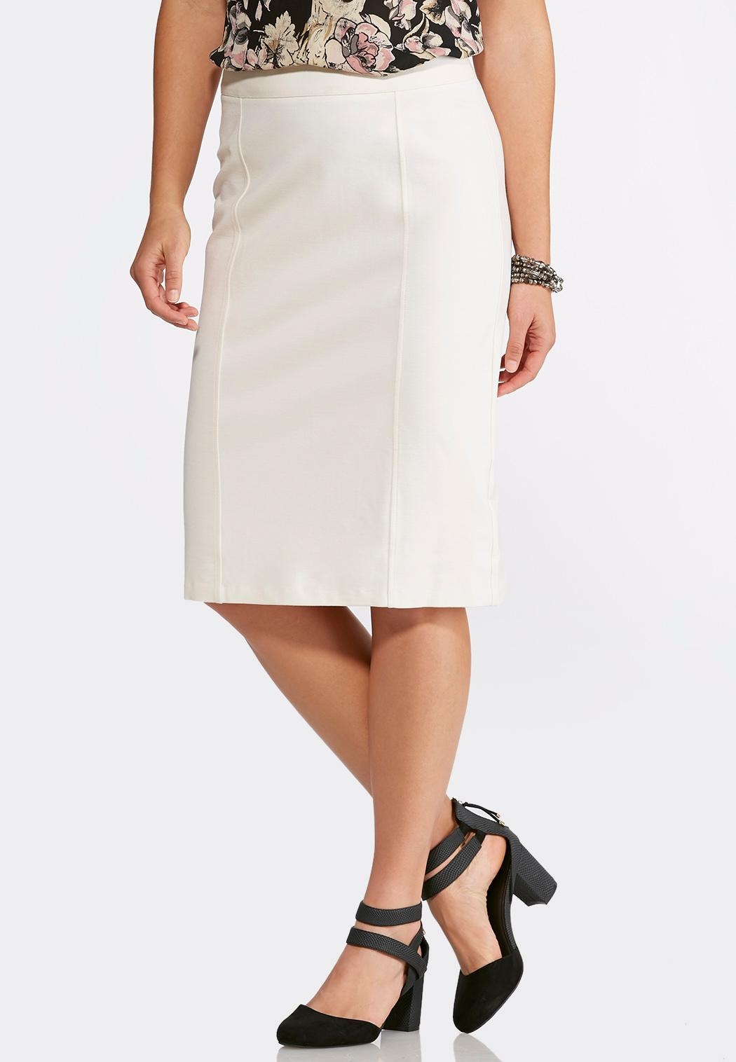solid ponte pencil skirt below the knee cato fashions