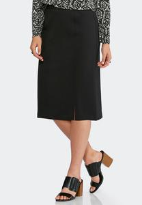Solid Ponte Pencil Skirt-Plus