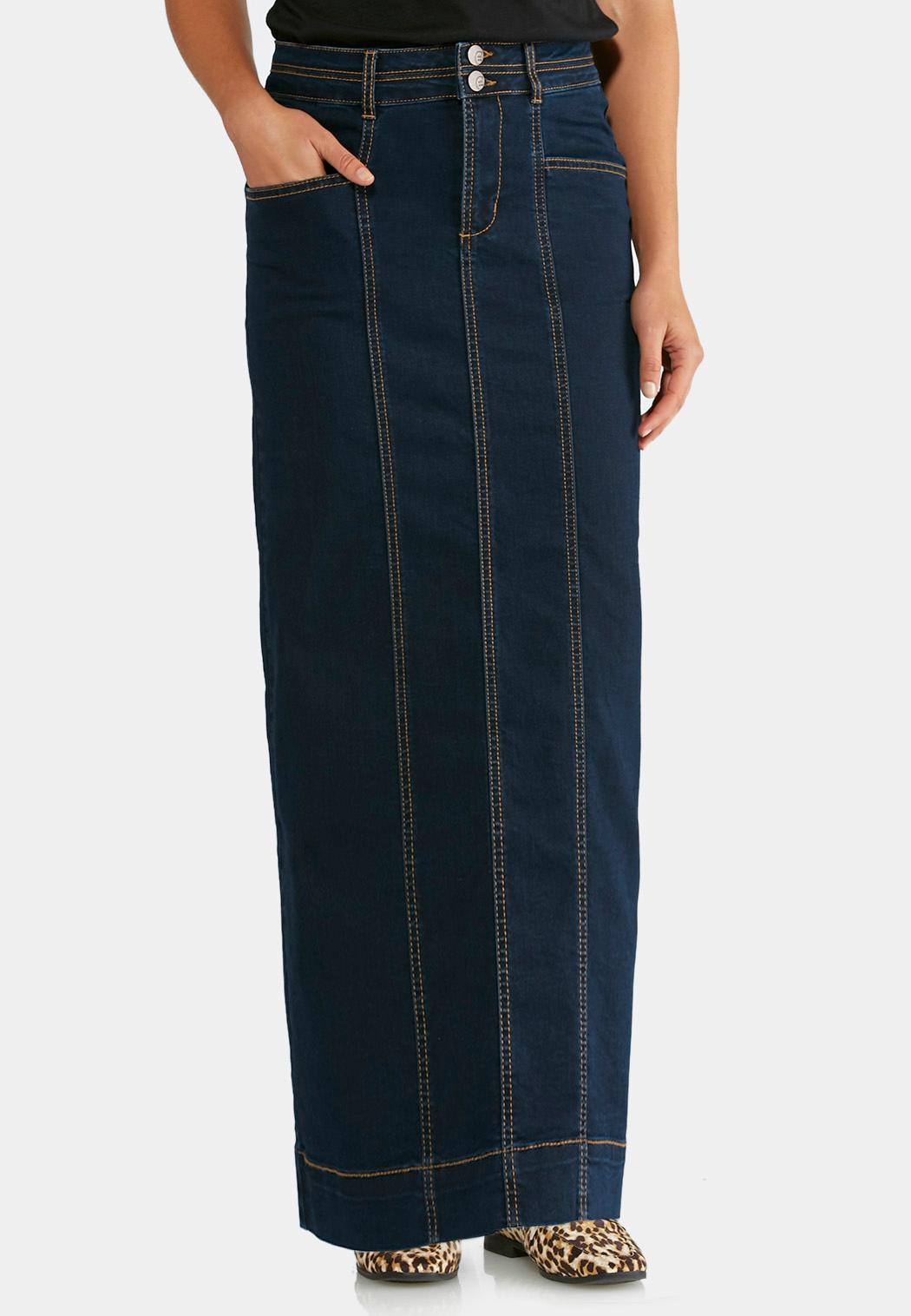 Seamed Denim Maxi Skirt