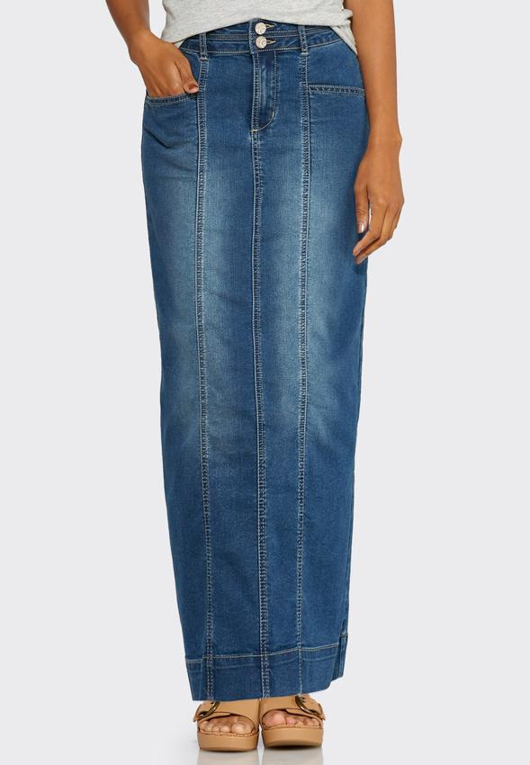 Seamed Denim Maxi Skirt Skirts Cato Fashions