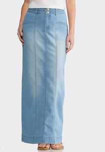 Seamed Denim Maxi Skirt-Plus