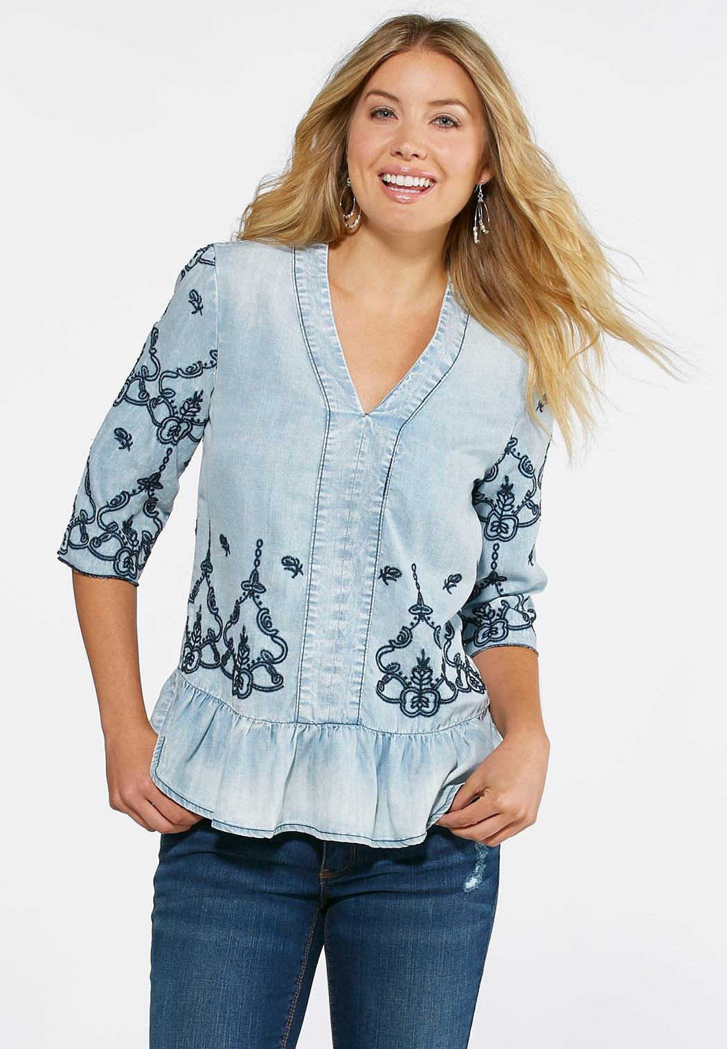 Embroidered chambray peplum top shirts cato fashions for Chambray top