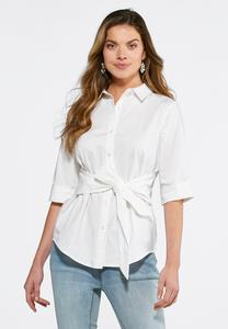 Tie Front Button Down Shirt