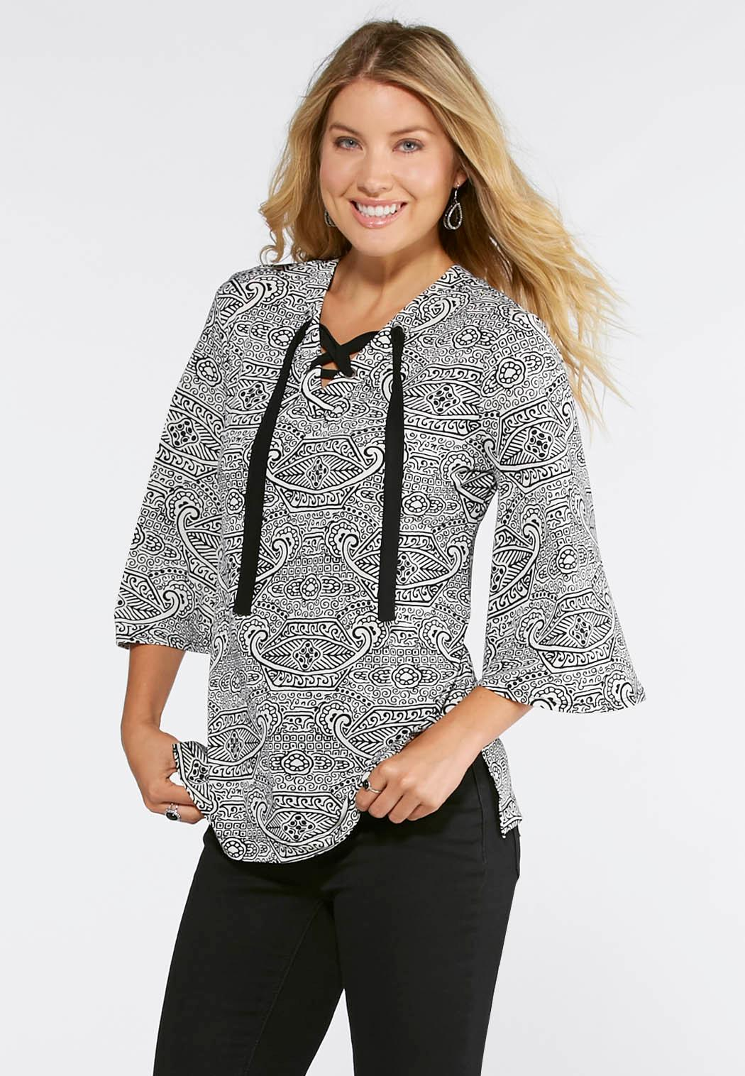 Bell Sleeve Patterned Top-Plus