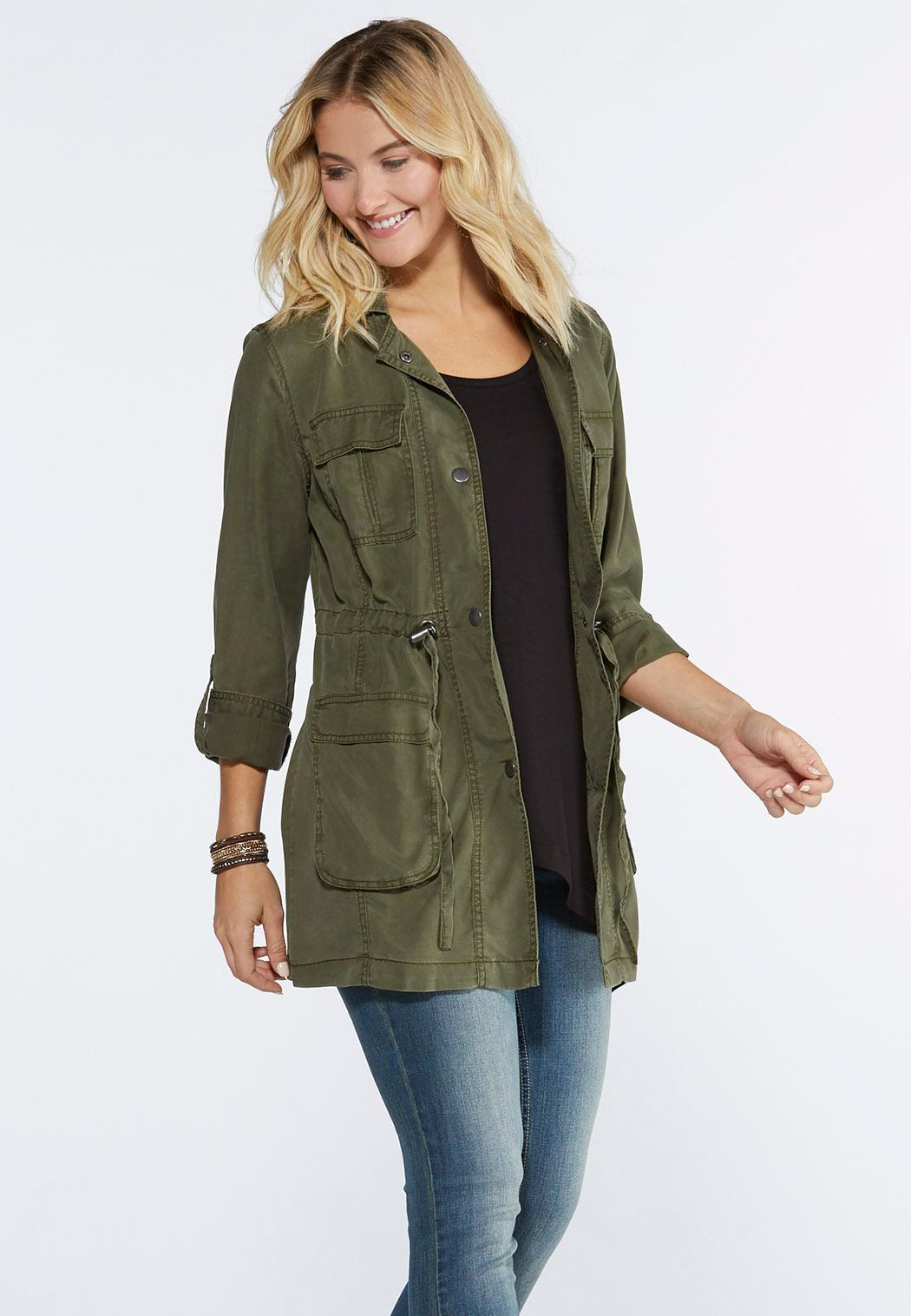 Cinched Waist Utility Jacket-Plus Fashion Jackets Cato ...