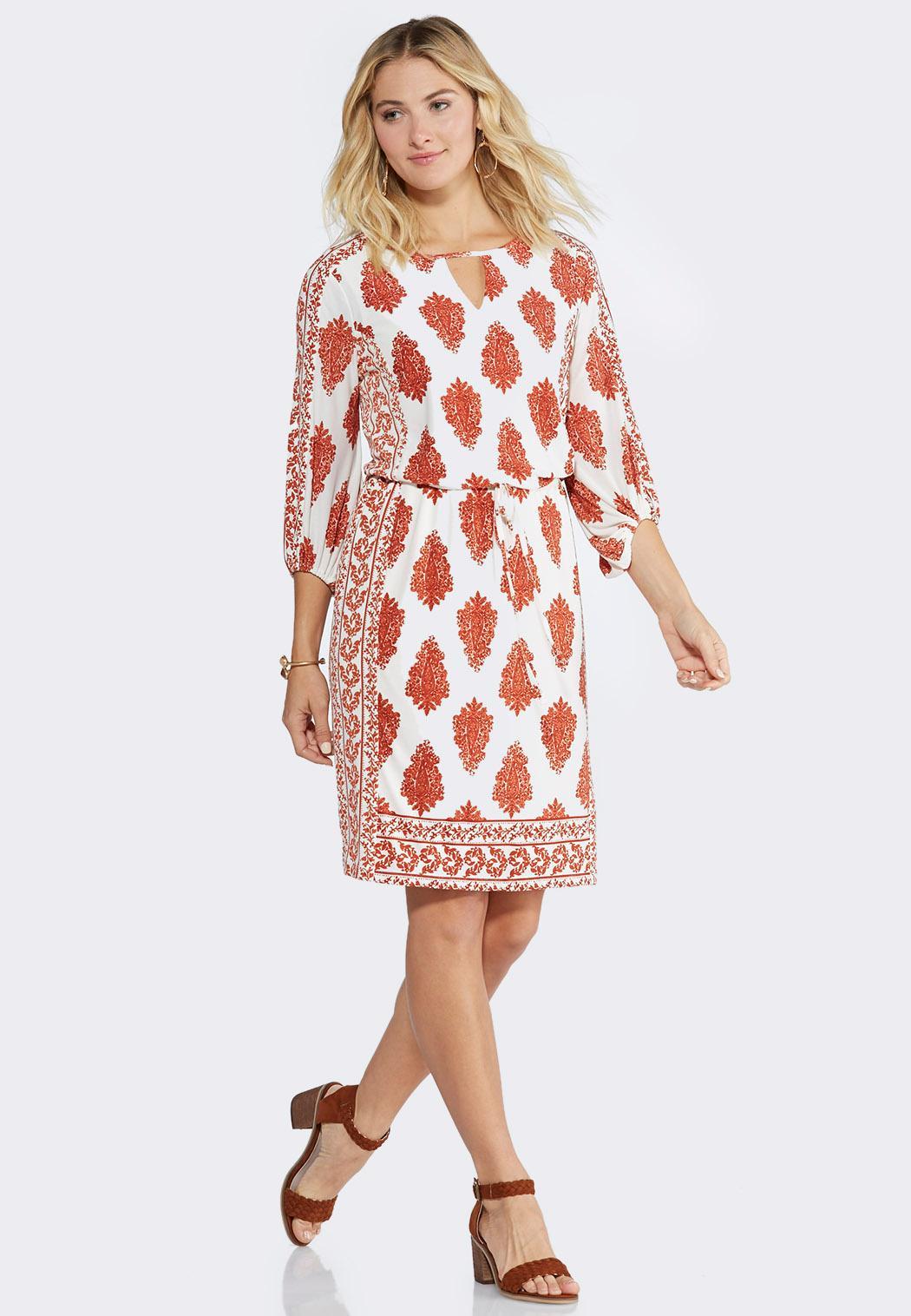 Plus Size Paisley Blouson A-Line Dress A-line & Swing Cato