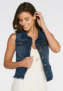 Release Hem Denim Vest-Plus