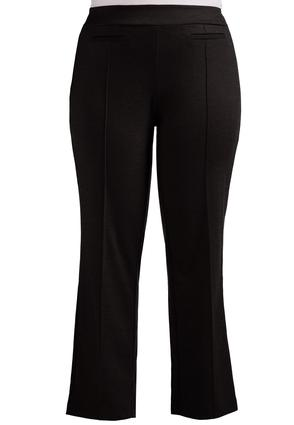 Pintuck Ponte Straight Leg Pants- Plus Petite