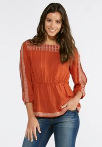 Embroidered Poet Sleeve Top-Plus