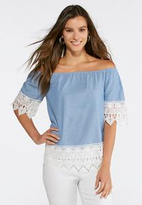 Off The Shoulder Chambray Top-Plus