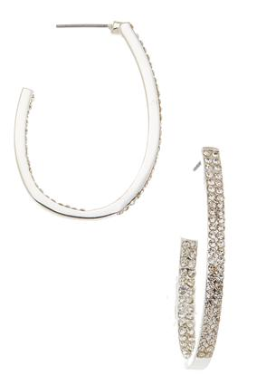 Rhinestone Oval Hoop Earrings | Tuggl