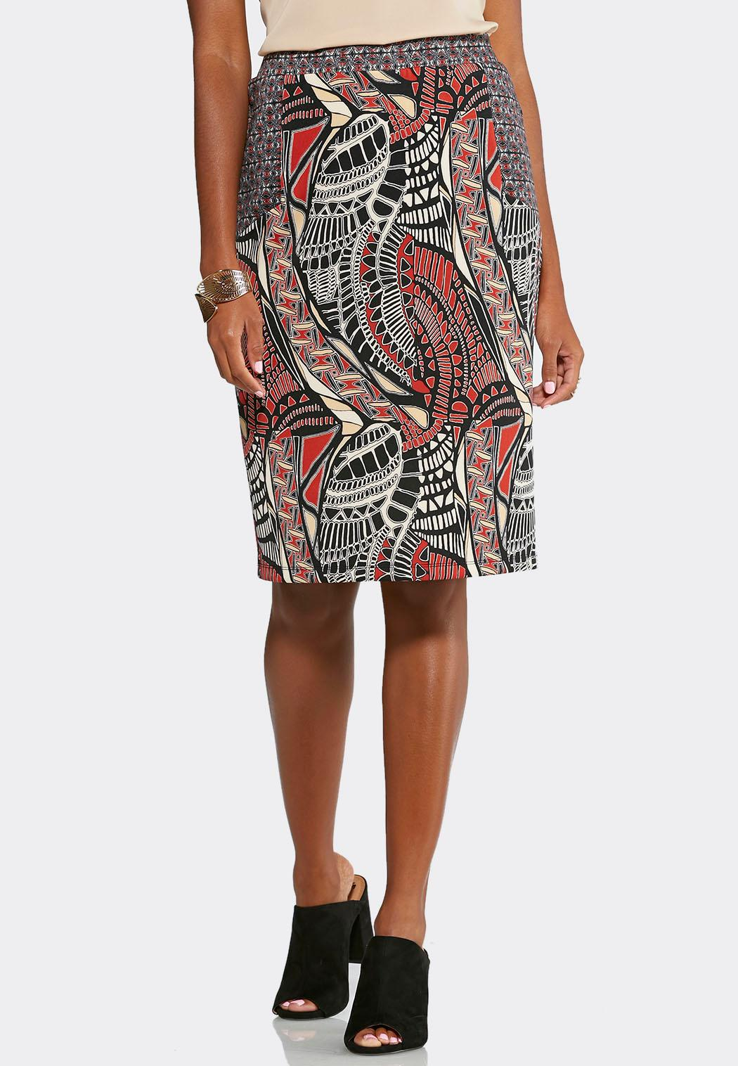 abstract tribal midi skirt plus below the knee cato fashions