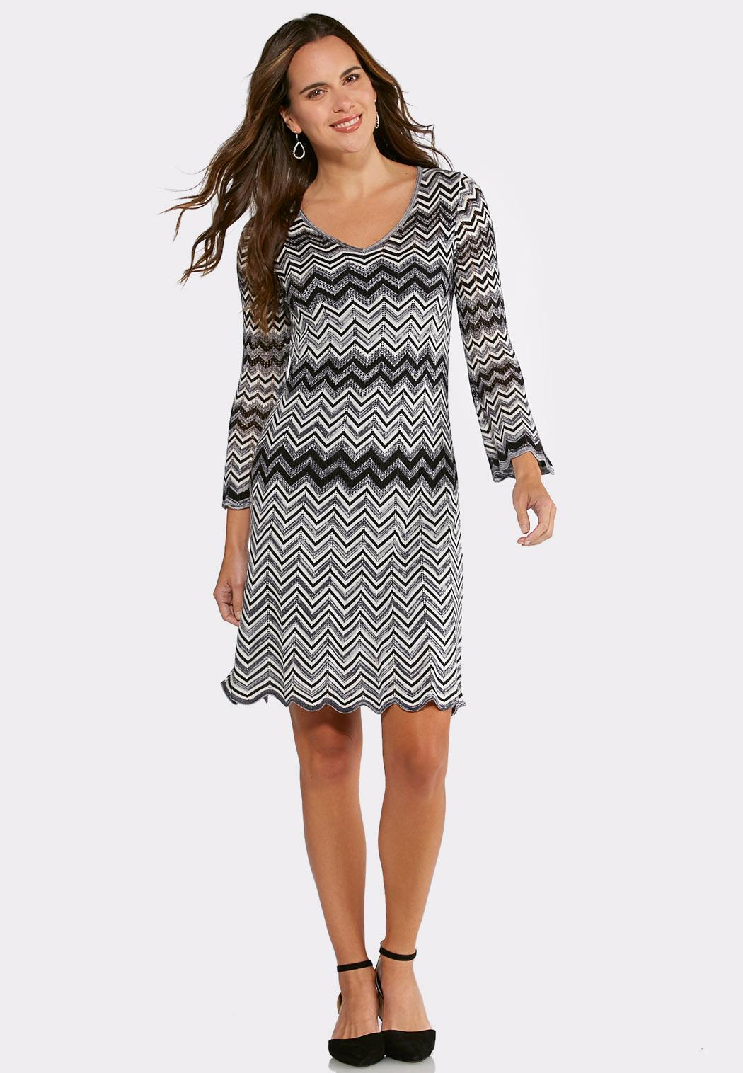 plus size black and white chevron sweater dress plus sizes cato