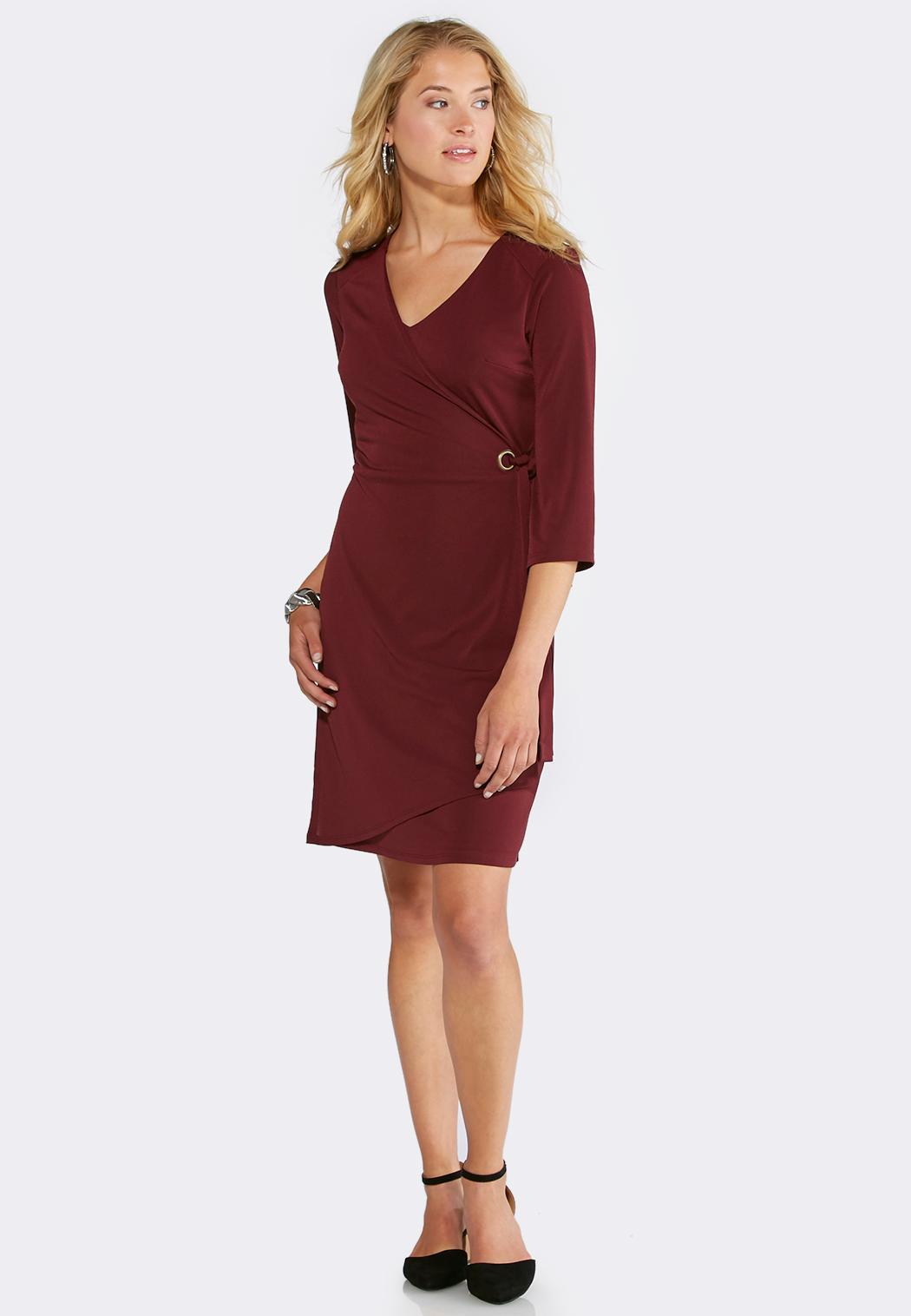 plus size solid faux wrap dress plus sizes cato fashions