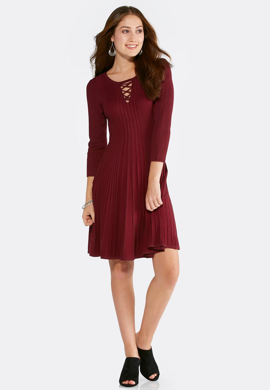 Plus Size Lace Up Sweater Dress Plus Sizes Cato Fashions
