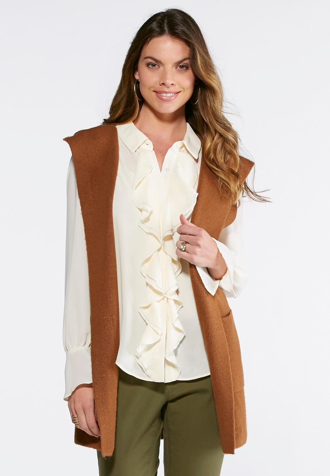 Hooded Sweater Vest-Plus Vests Cato Fashions