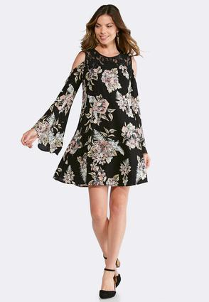 plus size songbird floral bell sleeve dress a-line & swing cato