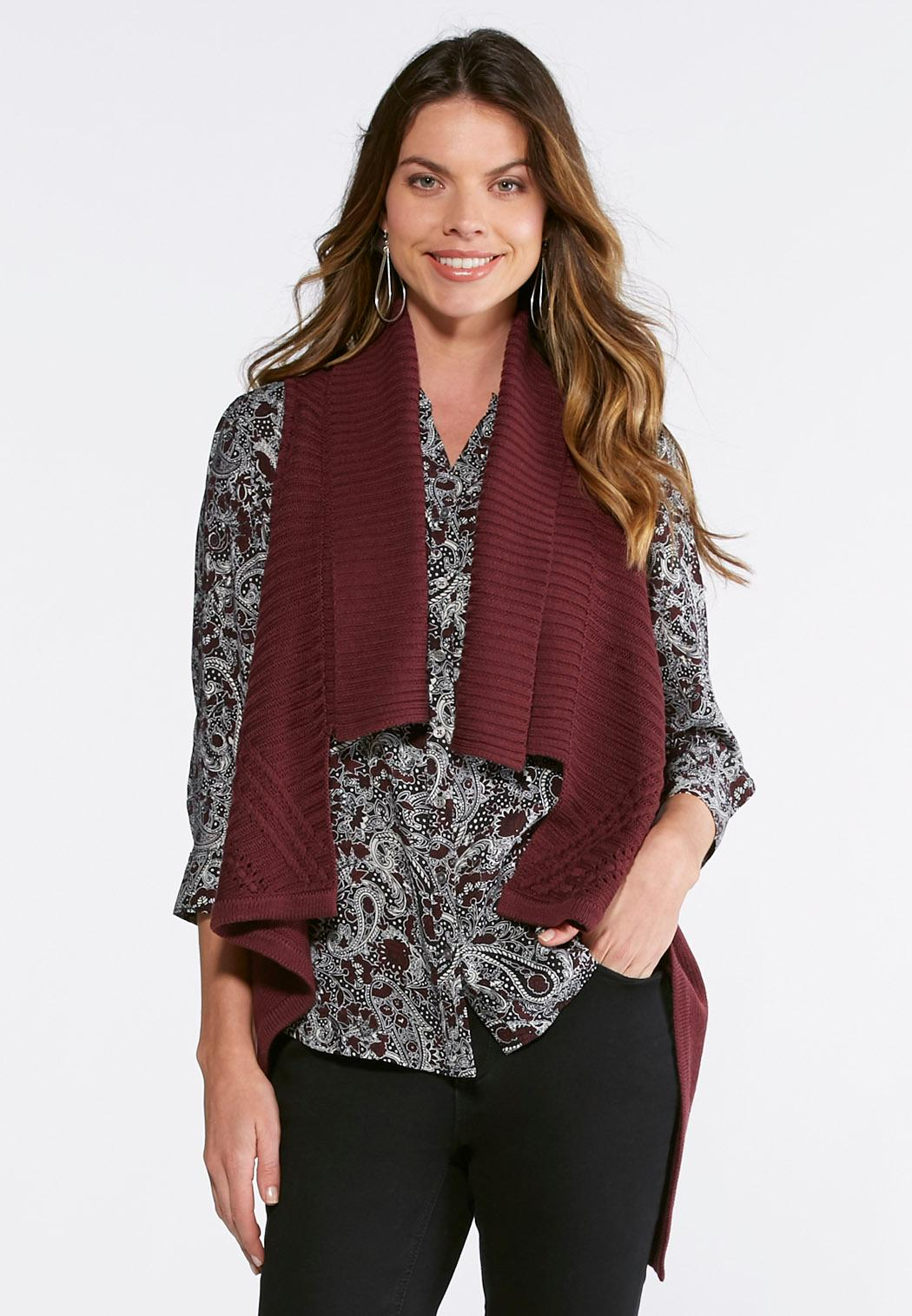 Waterfall Sweater Vest Vests Cato Fashions