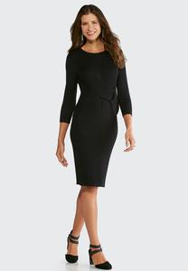 Plus Size Twist Waist Cable Sweater Midi Dress