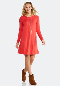 Plus Size Long Sleeve Swing Dress