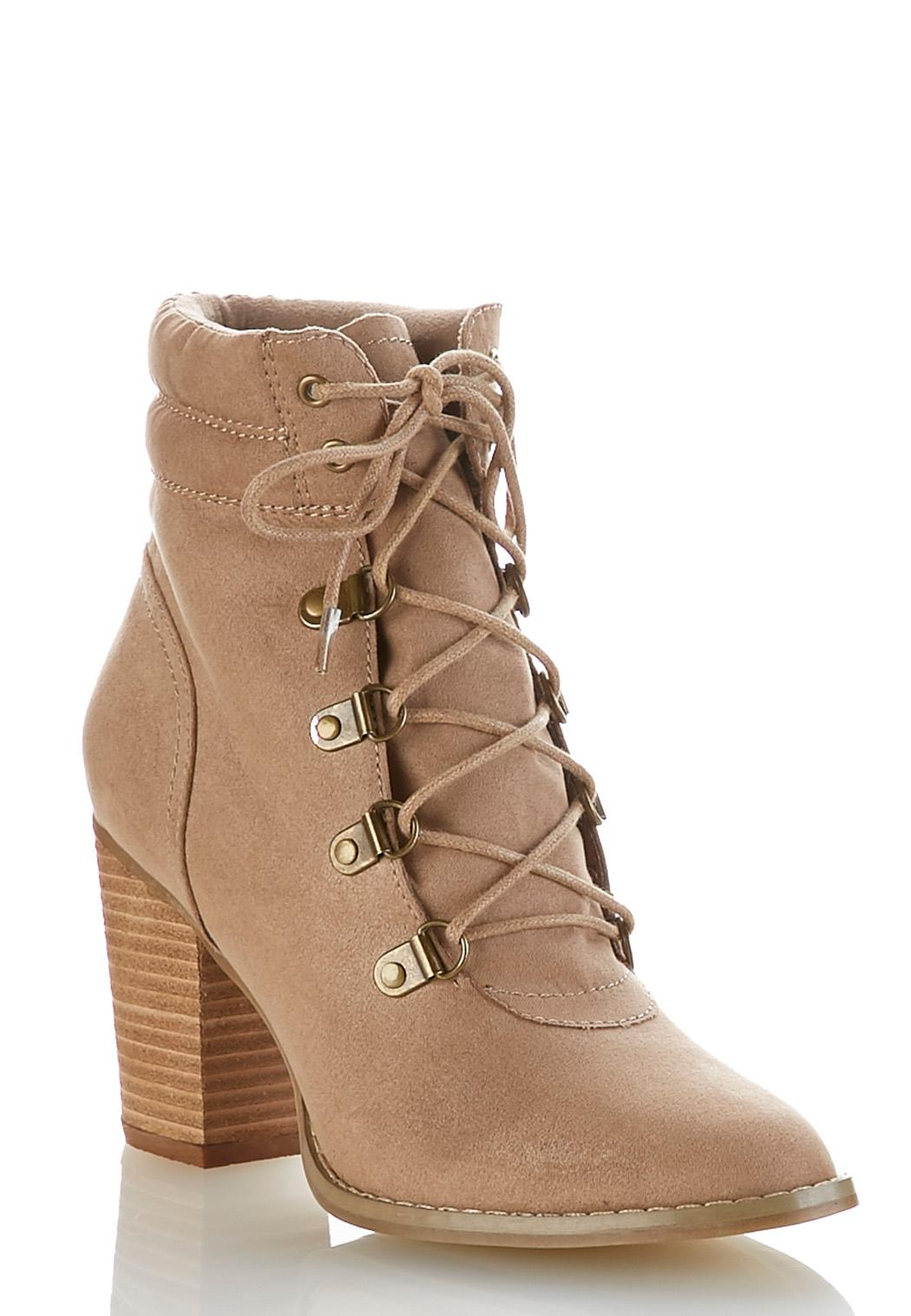 faux suede lace up ankle boots ankle  u0026 shooties cato fashions