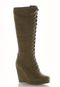 Tall Lace Up Wedge Boots