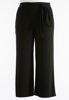Belted Palazzo Pants- Plus Petite