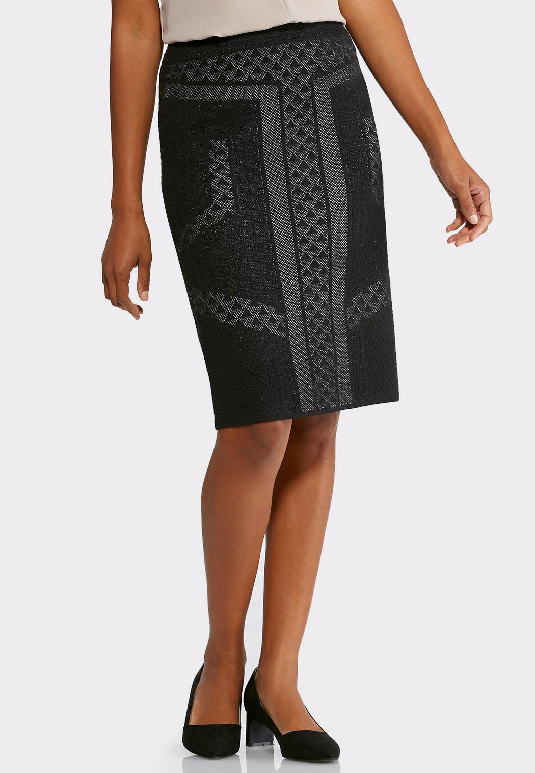 jacquard sweater pencil skirt below the knee cato fashions
